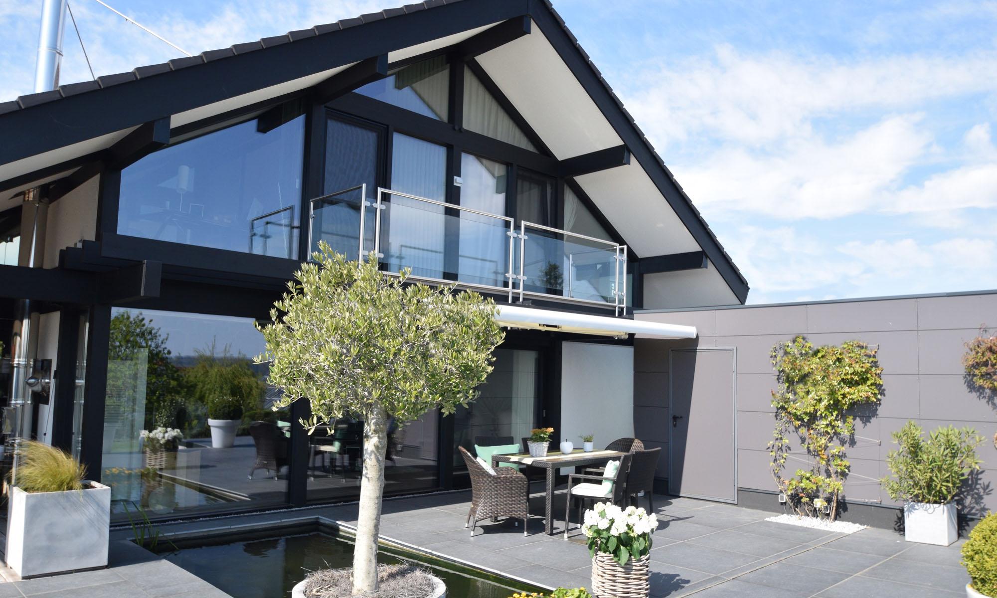 Da Vinci Haus Terrasse mit Teich